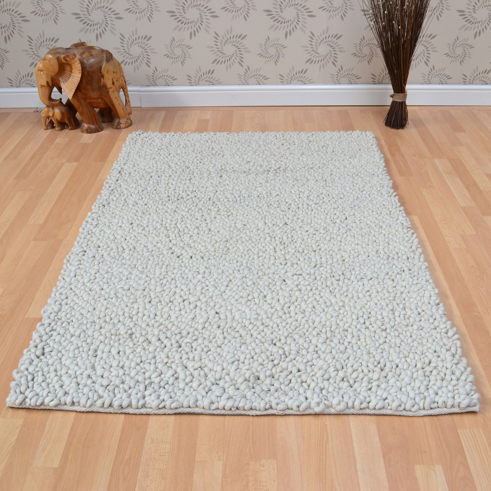 Pebble Hoop Wool Rugs in Ivory